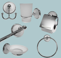 Free shipping to Brazil! 6pcs metal bathroom accessories set,chrome finished, zinc and stainless steel,Frosted Glass Insert