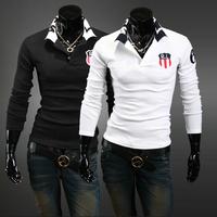 Free Shipping 2013 spring new Slim casual men's classic printing RL POLO shirt lapel