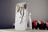 New Real Plastic Arrival 2014 Lovely Bow Diamonds Phone for Iphone 4 4s 5 5s Galaxy S3 S4 Note 3 Accessories Free Shipping A125