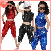 2014 Fashion girls jazz pants boys black leather pants red/blue jazz dance costumes for children XS~XXXL size,free shipping
