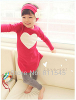 Retail Hot Pink Red Love Girl 3 Pieces Suits for Children Autumn Baby Set T-Shirt + Pants + Headbands Toddler Clothing Kids Wear