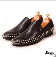 2014 jiniwu fashion men's cool rivets black boat loafers party dress shoes male round toe low-top flats driving shoes JM05 sale