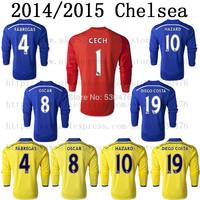 Chelsea 2014/2015 HAZARD home blue Long Sleeve soccer jersey 14/15 top Thai quality Chelsea soccer jerseys Size: S/M/L/XL