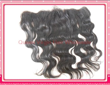 "Peruvian virgin hair lace frontal and closure 13""x4"" Body wave bleached knots Free shipping baby hair #1b color"