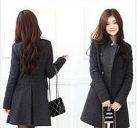 2013 New Arrival Korean Style  Women's Double Breasted Coat  Warm & Fashionable Free Shipping Wholesale WWD019