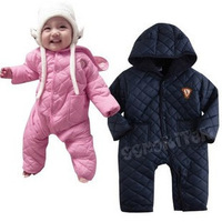 Hot Sale!Retain1pcs2013Winter Fashion Baby Romper With Cap,Cotton Thick Warm Baby Overalls,Infant Pink&blue Jumpsuits With3sizes