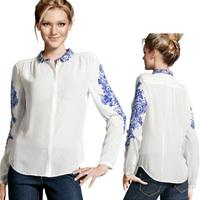Retro Women Long Sleeve Blue And White Porcelain Print Chiffon Tops Shirt Blouse Free shipping & Drop shipping
