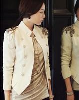 Free shipping new stylish and comfortable women's cotton jacket shawl lace cardigan double breasted Napoleon badges suit coat
