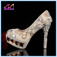 Luxury genuine leather high heels Pearl wedding shoes Crystal Rhinestone Wedding Shoes Pearl party wedding Pumps