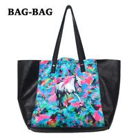 2014 NEW Women GENUINE LEATHER Large Animal HorsePrints Set Shopper Handbag shoulder Shopping bag 100% cowhide Fashion girl B373