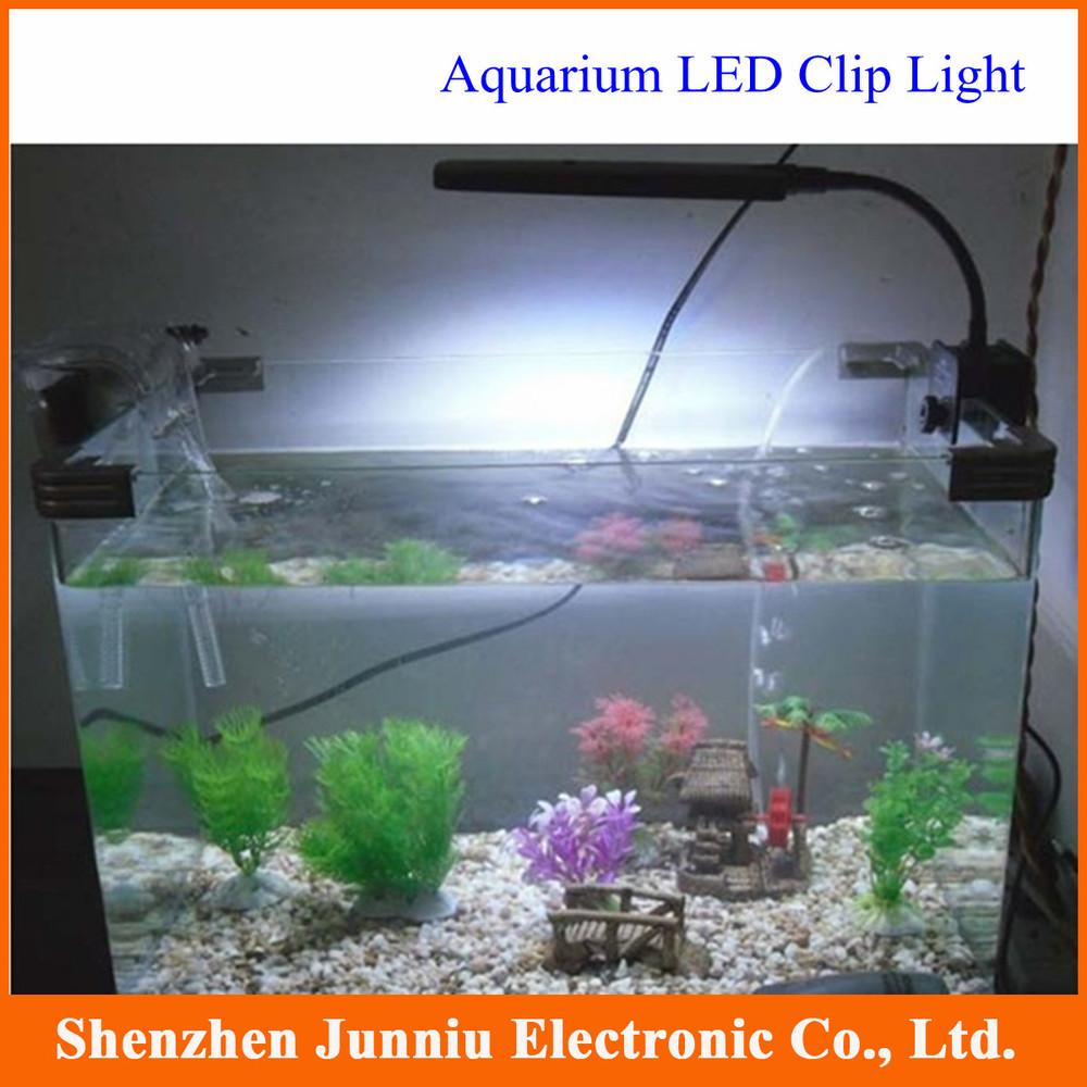 2015 NEW Aquarium 2 Mode Clip Lamp 48 LED White & Blue Light Lamp 3W EU Plug Black or White Free Shipping(China (Mainland))