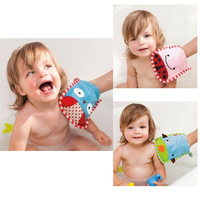 3 pcs/lot Zoo Towel and Mitt Sets glove shape baby/kids bath - dog,owl,bug