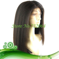 Free Shipping 100% Virgin Brazilian Hair Kinky Straight Relaxed lace front wigs for African American