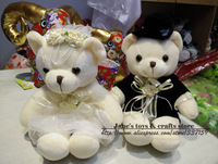 Free shipping 20 cm  plush teddy bear toy sitting bears lovers in wedding dress, 1 pair/lot stuffed bear toy for wedding gift