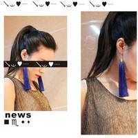 Free shipping Min.Order $10 2013 western fashionable woman long tassel hoop earrings