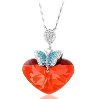Free Shipping 2013 new NEOGLORY female Jewelry -  full rhinestone butterfly crystal heart pendant Necklace xgb7296