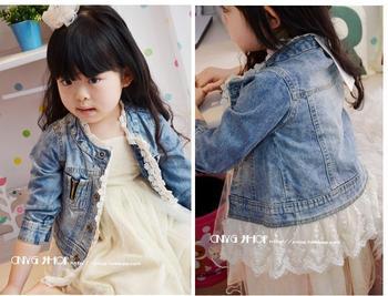 new 2014 spring children clothing  girls water wash princess denim jacket  lace decoration boys minkey outerwear coat