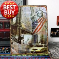 20cm*30cm tinplate poster painting retro vintage home bar cafe pubs decor finishing decorative mural furnishings wall #NEW YORK1