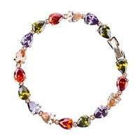 Marquise-cut Venus Colorful Charm  Oval Swiss CZ Diamond Water Drop  Bracelet  Made With Swarovski Element Crystal Free Shipping