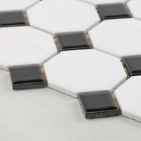 Wholesale glazed Porcelain Mosaic Tile sheets Kitchen Backsplash ideas slip black & white mixed octagon Tiles Floor mirror Wall