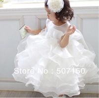 New ! Children dresses princess flower girl dress for wedding party white Cake one-piece dress