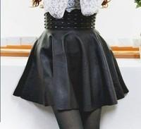 853 shes-story punk rivet PU bust skirt leather skirt