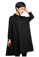 New Design Brand Large Size Overal Black Woman Suit Trench Wind Coat TC159