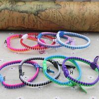 Top quality popular punk style colorful plastic Zip fastener bracelet delicate bangle 20 pcs/lot