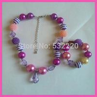 Min order is 10USD! Free shipping pink purple tear dropped pendant shamballa necklace bracelet set for kids 2013