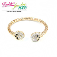2013 New Punk Rhinestone Skull Head Cuff Bracelet Fashion Bangle Jewelry For Women Free Shipping