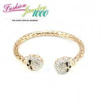 New Punk Rhinestone Skull Head Cuff Bracelet Fashion Bangle Jewelry For Women Free Shipping