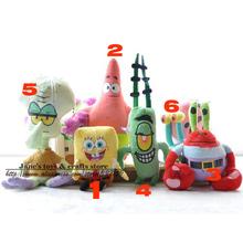 6pcs/set  super cute soft plush Spongebob,Patrick star,Squidward,Tentacles,Mr. Krab,Sheldon Plankton Gary Toys gift for children(China (Mainland))