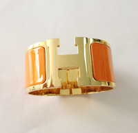 Fashion and hot sale big H shape 30MM 316L stainless steel GOLD bangle bracelet with Orange/Black enamel for Woman free shipping