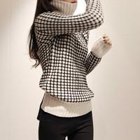2014 winter autumn women women's vintage slim stereo turtleneck knitted sweater thick basic shirt female black white trench coat