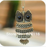 J26 10pcs/lot Retro Crystal Carved Owl Long Chain Necklace Fashion Accessory Jewelry Gifts