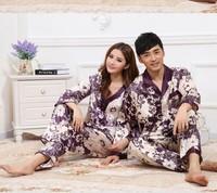 Women and Men's Purple printed Sleeping Wear sets Lover's Long Sleeve Long pants Pajamas Sleepwear Sleep Clothes