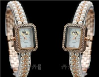 TWB060 Free Shipping,Wholesale 5pcs 9% discount.2 colors.Women elegant party bracelet watch,pearls+crystals strap,quartz movt.