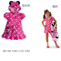 2014 Baby dress Summer girls hoodies Girl cartoon with minnie jacket Children clothes dress bathrobe polka dot hot pink