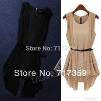 1PC New Design 2013 Women's Elegant Chiffon Blouses Sleeveless Irregular Vest Shirts Luxury OL Ladies Tops With Belt ay652567