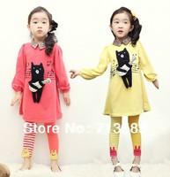 New spring /autumn Children girls long-sleeved  dress+ pants  suit set ,5set/lot