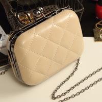 Free Shipping  2013 New Candy -Colored Lingge Chain Handbag Clutch Evening Bag Messenger Bag Mini Bag
