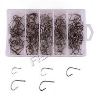 190Pcs 4 Sizes Black sharp fishing hooks sport circle hooks 7381 HC-22