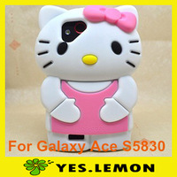 Shock Dirt Proof Lovely Hello Kitty Cat Silicone Cover 3D Cartoon Case for Samsung Galaxy Ace S5830 Wholesale 5PCS/Lot+Free Gift