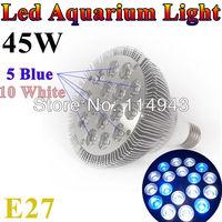 Free Shipping E27 45W Pa38 85-265V 10white 5blue LED Aquarium Light Bulb For Coral reefs and aquarium fishes wholesale price