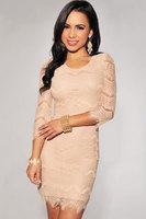 vestidos de festa  longo long Light Peach Allover Lace Three Fourth Sleeves sweet Dress preppy autum - winter dress new 2014
