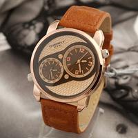 Eyki Ikey Double Movement&Dial Vintage Genuine Cow Leather Bracelet Wrist Watch Men Dress Fashion Quartz Watch