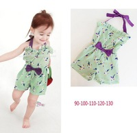 Free shipping 5 Sizes/Lot Wholesale children's clothing summer cute girls suspenders hanging neck pants  (GDT-035)