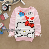Wholesale 1 lot=4 pieces 2014 cartoon new coat sweatershirts kids children clothing jacket spring girls spring hello kitty KT