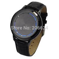 Fashion Cool Touch Screen LED Binary Wrist Watch Blue Light Electronic Digital Watch for Men Women