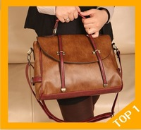 Free shipping hot new retro style handbags, fashion winter women shoulder bag , hit color popular messenger bag ,leather bag